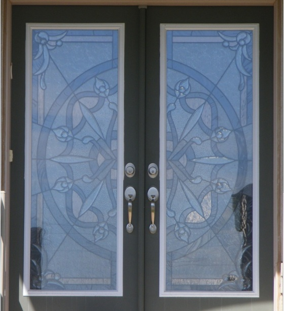 Decorative glass door inserts with black painted frame