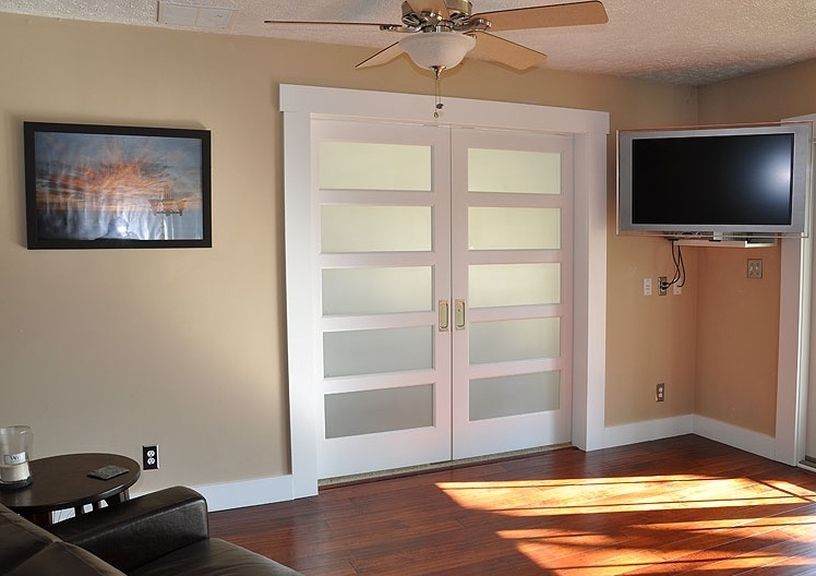 Double smoked glass doors panel in family room