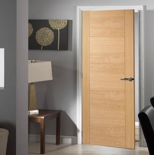 Flush Interior Door With Natural Oak Finish Home Doors Design