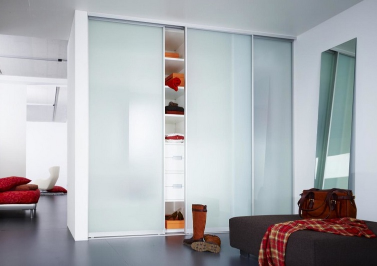 Frosted Glass Closet Doors With 3 Sliding Panel Doors