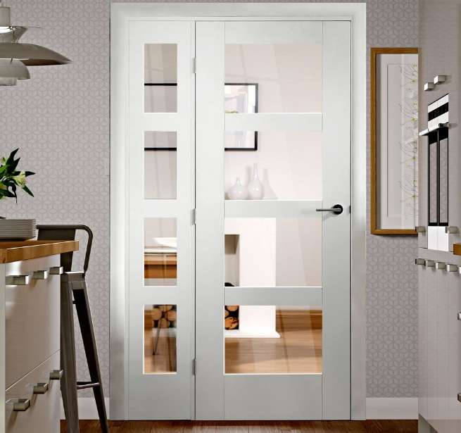 Internal French Doors With Side Panels For Modern Kitchen Home