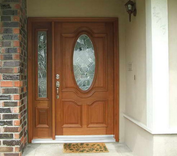 Mahogany front door with single sidelights