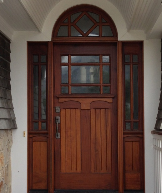 Single Mahogany Front Door With Glass Panel