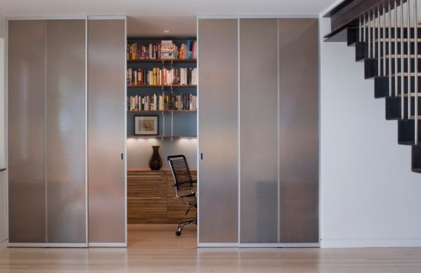 Sliding smoked glass doors for small home library
