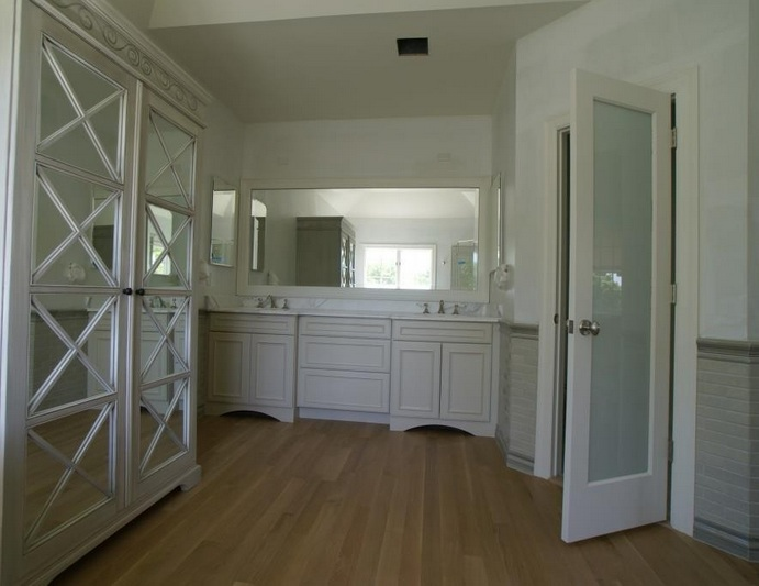 Smoked glass doors for master bathroom