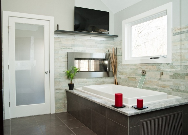 Smoked glass doors with white frame doors in master bathroom