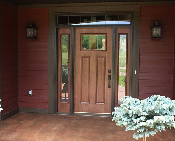 Solid mahogany front door with single two sidelights