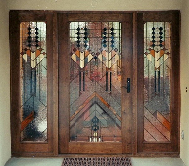 Stained Gl Entry Door For Single Wood Doors