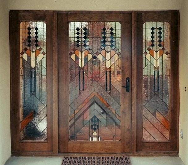 дизайн входной двери стеклопакет