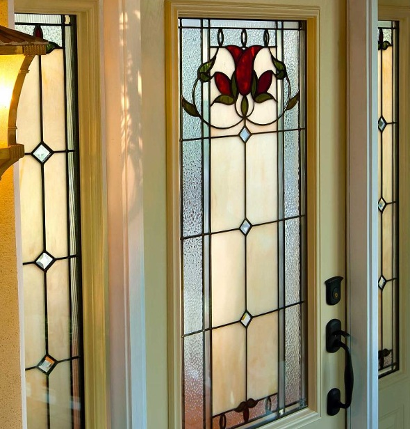 Stained Glass Entry Door With Sidelights Home Doors Design